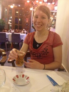 Dinner Day 0: Hot apple cider/tea - apparently the thing to drink in Istanbul but super sweet!